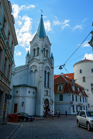Our Lady of Sorrows, Riga Virgin of Anguish Roman Catholic Church, Latvia, July 20, 2018.