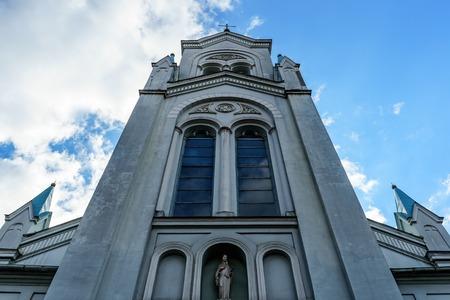 Our Lady of Sorrows, Riga Virgin of Anguish Roman Catholic Church, Latvia, July 20, 2018. Zdjęcie Seryjne - 124998852