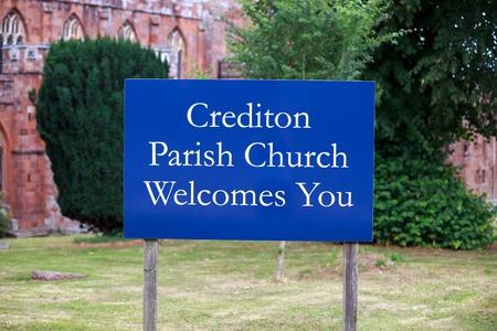 Crediton Parish Church sign, Devon, United Kingdom July 20 2018