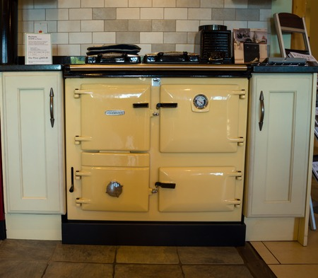 Rayburn range cooker in shop kitchen display, Winkleigh, Devon, United Kingdom, August 8 2018
