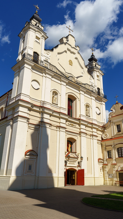 Cathedral Basilica of the Assumption of the Blessed Virgin Mary with the shadow of its Bell tower, Pinsk, Belarus, June 21, 2017 Zdjęcie Seryjne - 124998898