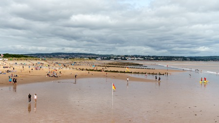 People relaxing on the Dawlish Warren Beach, Devon, United Kingdom, August 20, 2018
