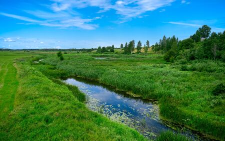A narrow water canal, river, stream going through a green grass field landscape into bright summer clouds. Rural, countryside landscape.