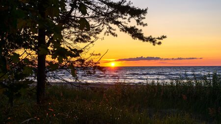 beautiful sunset over Baltic sea shore in summer evening, relaxing view on nature. Zdjęcie Seryjne