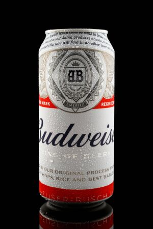 Budweiser beer in aluminium can with water drops on black background, Devon, United Kingdom, October 21, 2018.