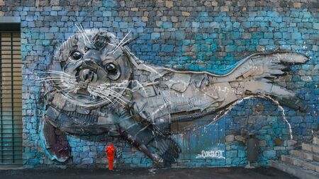Seal pup, Camara de Lobos city street art from recycled materials by famous Portuguese artist Bordalo II, Madeira, Portugal, October 10, 2019 스톡 콘텐츠 - 137710066