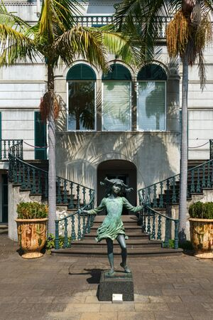 girls statue in Jardim Tropical Garden Monte Palace, Madeira, October 10, 2019 에디토리얼