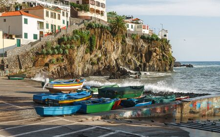 Colourful sailing fisher man boats in Camara de Lobos port, Madeira, Portugal, October 10, 2019 스톡 콘텐츠 - 137710071