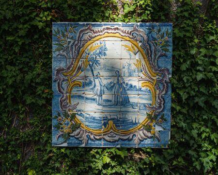 decorative feature made of vintage tiles in Jardim Tropical Garden Monte Palace, Madeira, October 10, 2019 에디토리얼