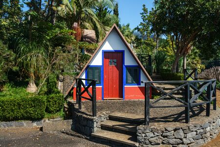 traditional Madeira dwelling in the tropical Jardim Garden Monte Palace, Funchal, Madeira, October 10, 2019 스톡 콘텐츠 - 137710075