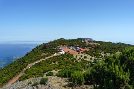 Beautiful panorama view of the hiking trail and cafe in the mountains of Pico Ruivo, Madeira, October 10, 2019. 스톡 콘텐츠