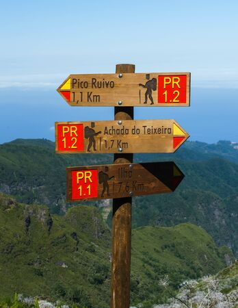 Path signs on the road to Pico Ruivo, the highest point in Madeira Island, Portugal, 10 October, 2019.