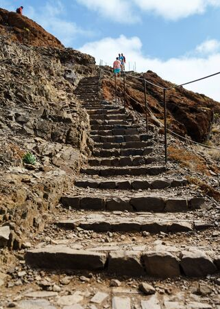 stone Stairs in mountain Trekking and hiking path, trail. 스톡 콘텐츠