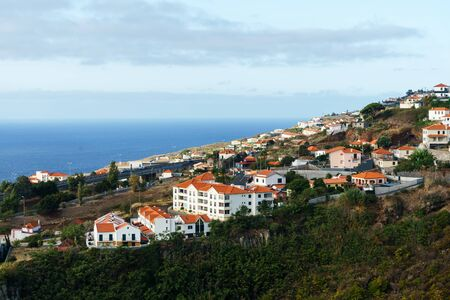 View of holiday town and Atlantic ocean, Madeira island, Portugal, October 10, 2019.