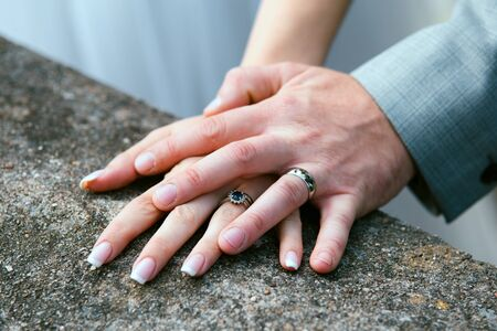 bride and groom Wedding ring exchange, straight marriage concept. 스톡 콘텐츠 - 137082197