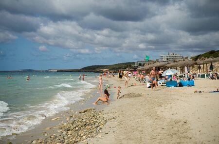 Santo Thomas beach in Menorca seascape in Spain, September 12, 2019