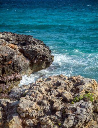 turquoise sea water of Mediterranian Coast landscape and rocks. 스톡 콘텐츠 - 138651073
