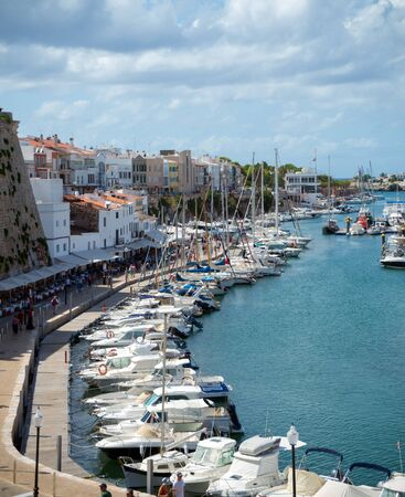Harbour with boats and yachts in Ciutadella port, Menorca, Balearic Islands, Spain, September, 2019 스톡 콘텐츠 - 139191236