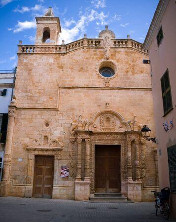 Old Santa Maria Cathedral at Ciutadella in Menorca island, Spain. Back view, September 12, 2019 스톡 콘텐츠
