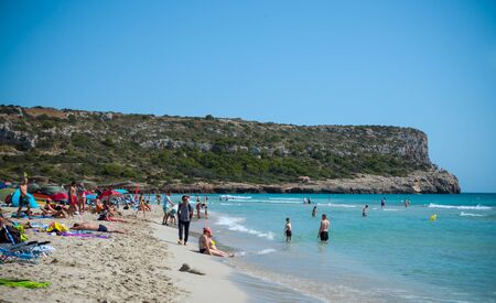 Son Bou beach on island of Menorca. Spain, September 11, 2019.