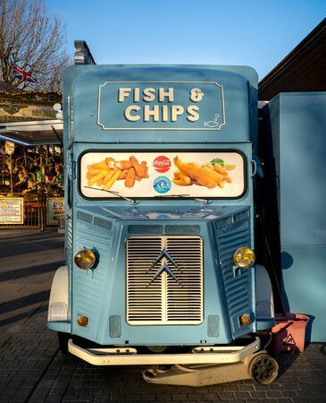 Fish and Chips mobile food truck, London, United Kingdom, February 23 2020
