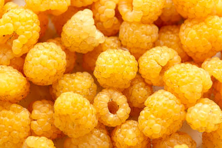 Closeup of golden raspberry fruits as background.