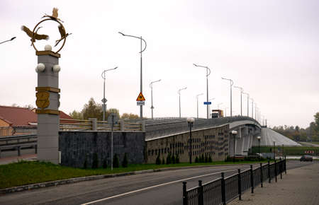 New automobile bridge over the Pina River in the city of Pinsk, Belarus October 20 2020. 스톡 콘텐츠