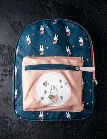 new School backpack for children with bunny rabbit, Devon United Kingdom, October 12 2020. 스톡 콘텐츠