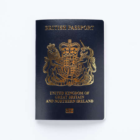 new post Brexit blue British passport on white background, Devon United Kingdom January 28 2021