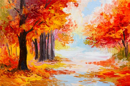 Oil painting landscape - colorful autumn forest. Abstract paint photo