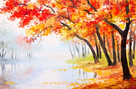 Olieverf landschap - herfst bos in de buurt van het meer, oranje bladeren Stockfoto