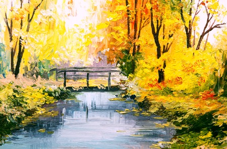 landscape painting: Oil painting landscape - colorful autumn forest, beautiful river
