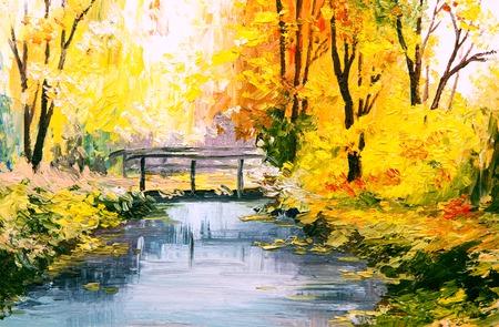 Olieverf landschap - kleurrijke herfst bos, prachtige rivier
