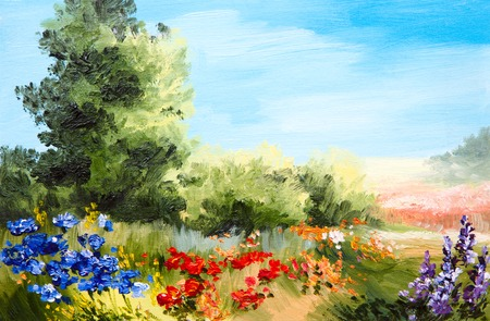 fall landscape: oil painting - field of flowers, abstract drawing,  impressionism