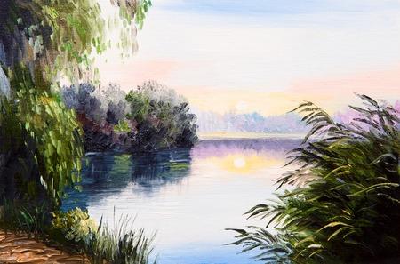 jezior: obraz olejny - wschód słońca nad jeziorem, abstrakcyjna rysunku, impresjonizm