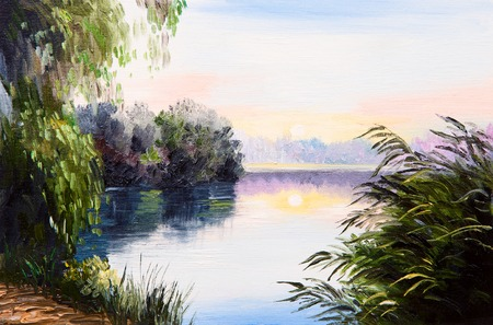oil painting - sunrise on the lake, abstract drawing, impressionism