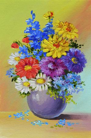 유화 - 아직도 인생, 꽃의 꽃다발, 화려한, 색상