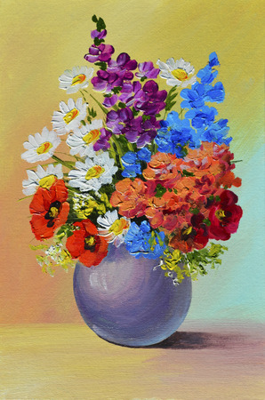 Oil Painting - still life, a bouquet of flowers,  colorful, color,  spring