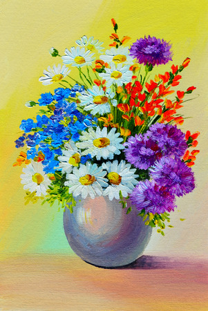 still life: Oil Painting - still life, a bouquet of flowers, colorful, color,  spring