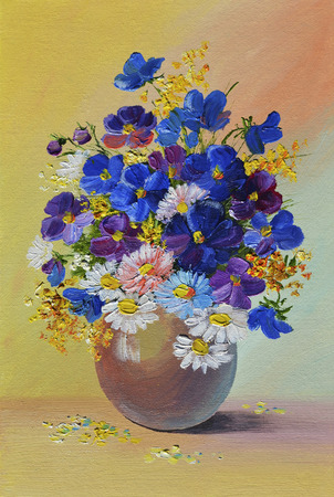 colorful still life: Oil Painting - still life, a bouquet of flowers, colorful, color,  spring