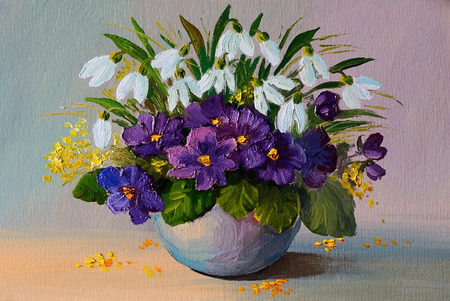 油絵花の静物、スミレ、花の花束を油します。
