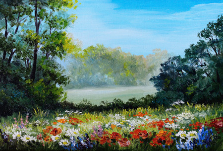 Oil Painting - field with flowers and forest abstract drawing , flowers; forest