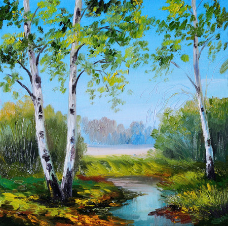 oil painting - birch in the field near the river, summer, spring Stock Photo
