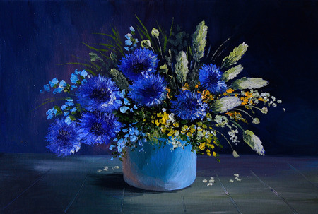still life: oil painting - still life, a bouquet of flowers, wildflowers,  spring Stock Photo