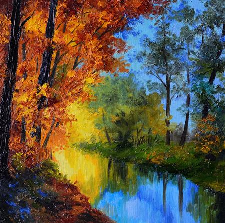 Peinture à l'huile - forêt d'automne avec une rivière et le pont sur la rivière, feuilles rouges lumineux, forêt