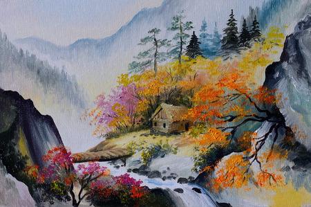olieverf - landschap in de bergen, huis in de bergen, bos