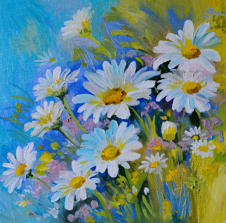 Oil Painting - abstract illustration of flowers, daisies, greens ,  spring 스톡 콘텐츠
