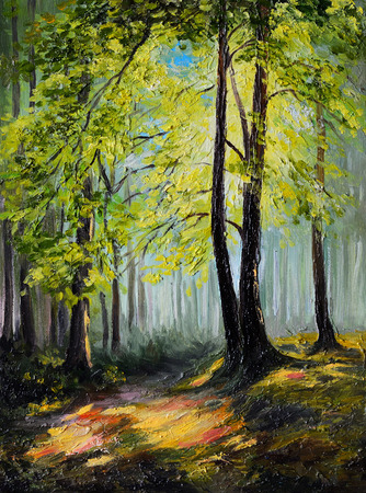 Oil painting landscape - colorful autumn forest , tree