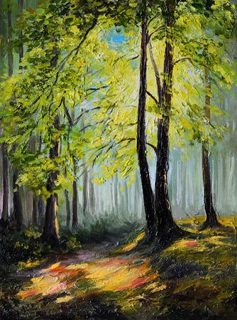 Olieverf landschap - kleurrijke herfst bos, boom
