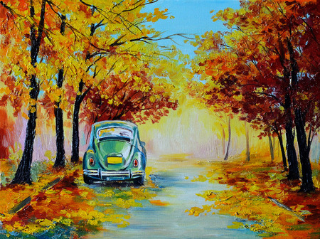 Oil painting landscape - car in the colorful autumn forest road, made in the style impressionism, retro